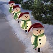 holiday time 4 piece vintage snowman pathway christmas lighted lawn stakes set seasonal outdoor decorations seventh avenue