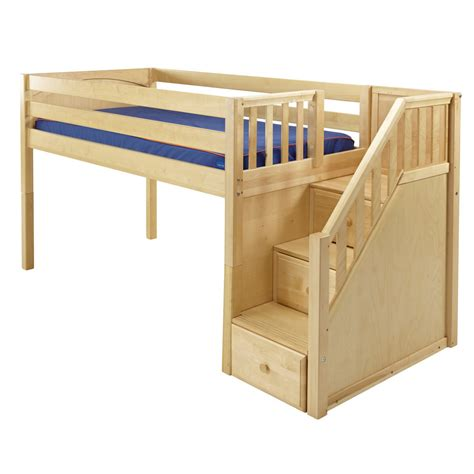 kids loft beds with stairs maxtrix great playhouse loft bed in natural w stairs panel bed ends 305 1