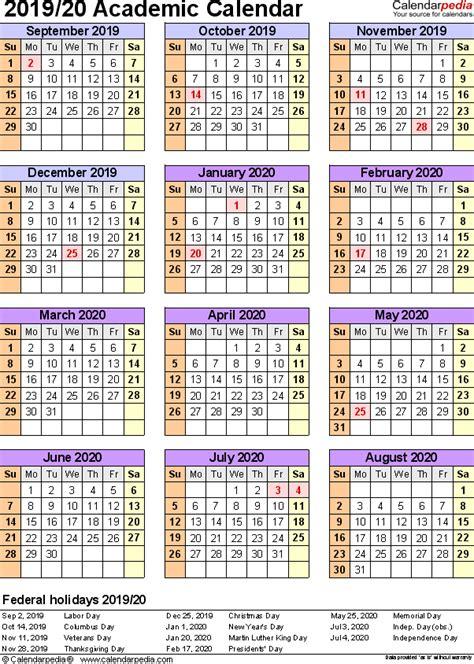 Academic Calendars 2019 2020 As Free Printable Excel Templates 2019 Calendar Template Excel