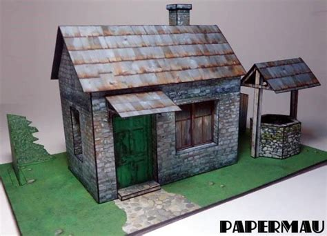 house diorama old stone house with well for diorama free papercraft