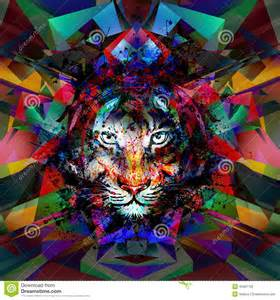 Abstract art picture with tiger stock illustration image 45091750