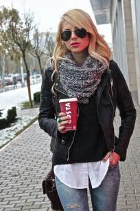 What To Wear With A White Infinity Scarf Weekend Infinity Scarf Cowl Black Jacket