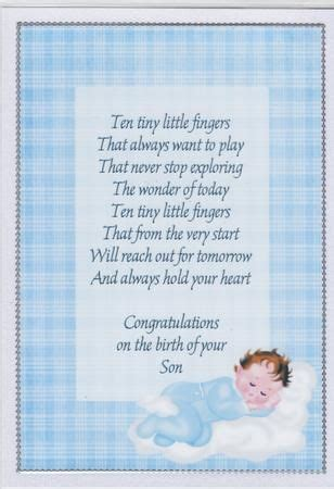 New Baby Verses For Handmade Cards - congratulations on births and baby boy on