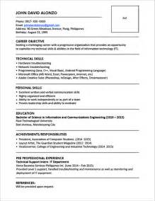 Resume Writing Formats by Sle Resume Format For Fresh Graduates One Page Format