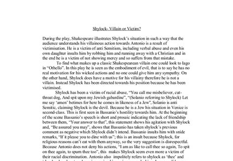 Is Shylock A Victim Or A Villain Essay by Shylock Villain Or Victim Gcse Marked By Teachers
