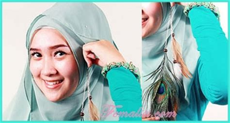 Jilbab Segi Empat Garis yuk cobain cara memakai jilbab segi empat dengan bros seperti anting