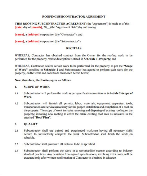 roofing contract templates   ms word