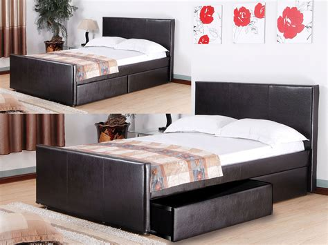 Faux Leather Bed With Drawers by Faux Leather Bed With 2 Storage Drawers In Brown Homegenies