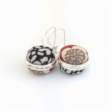 double sided upholstery buttons double sided earrings fabric button kimono mint red and