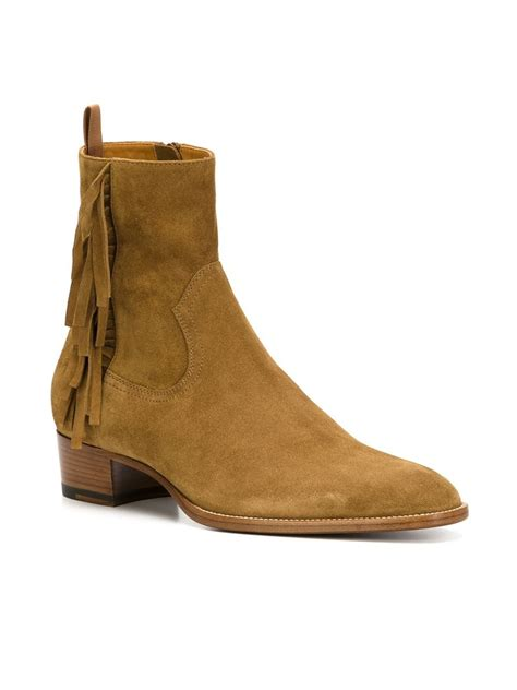 mens fringe boots lyst laurent hedi fringed suede ankle boots in