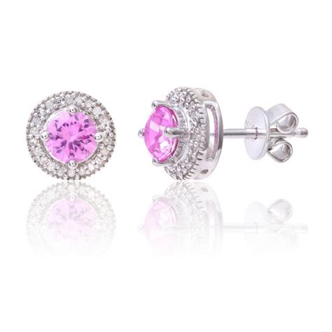Set Goyang Silver Pink sterling silver earring set with pink sapphire gem and diamonds
