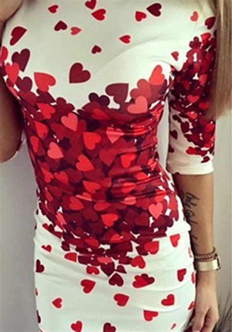 Lovely Printed Bodycon Dress 40079 s lovely hearts printed bodycon dress