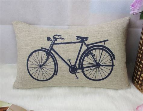 1 linen simple blue bicycle bike pillow cover