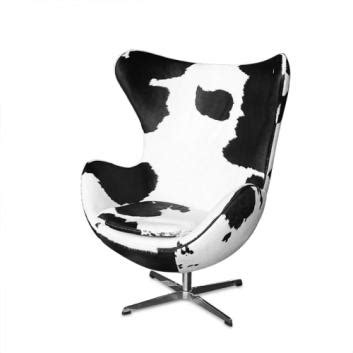 Black And White Cowhide Chair - egg chair black white cow hide leather replica