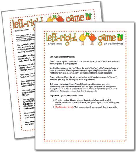 printable christmas right left game printable christmas games for kids new calendar template