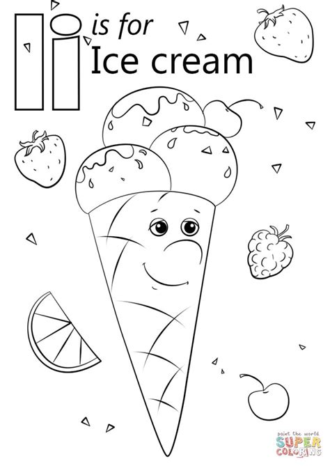 letter    ice cream coloring page  letter