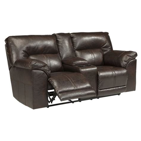 reclining loveseat with console leather ashley barrettsville leather reclining console loveseat in