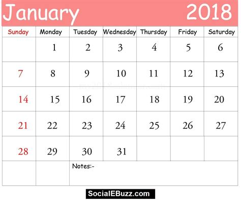 pin  calendar printable  january  calendar