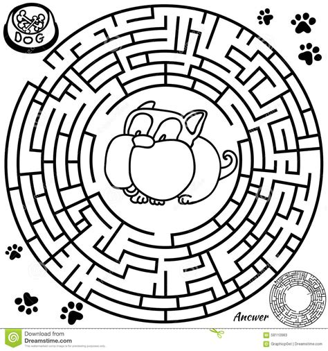 printable maze with no solution maze game for kids stock vector image 58110983
