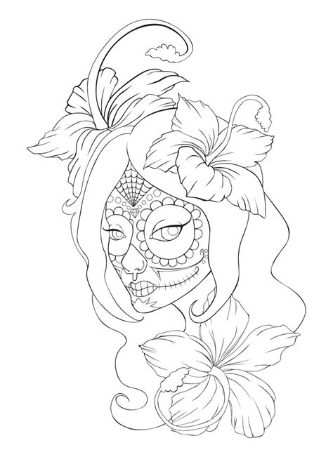 sugar skull tattoo lineart by sammyjd on deviantart