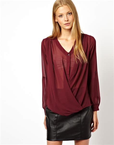drape wrap blouse asos top with v neck and drape wrap in purple lyst