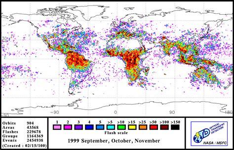 nasa visible earth global lightning distribution