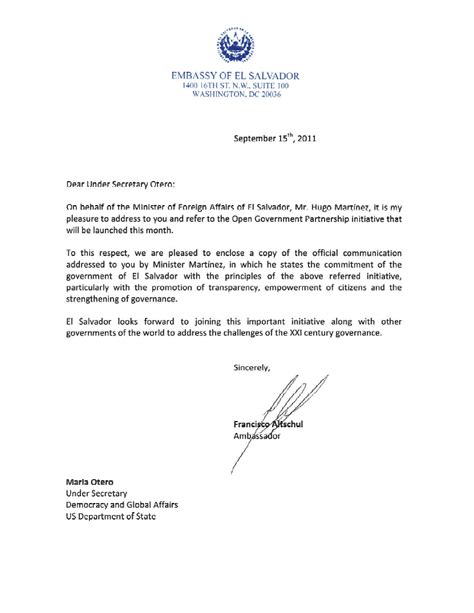 Letter Of Intent To Business Partnership El Salvador Open Government Partnership