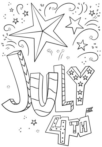 4th of july doodle coloring page free printable coloring