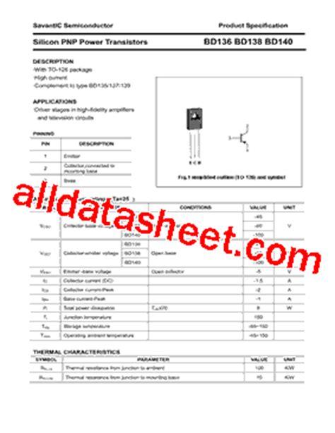 datasheet transistor bd140 bd140 datasheet pdf savantic inc