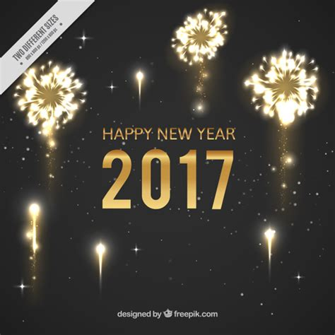 dark new year background with shiny fireworks vector