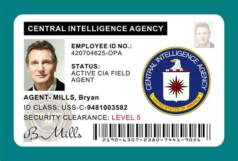 cia id card template maker taken bryan mills cia id card badge prop liam