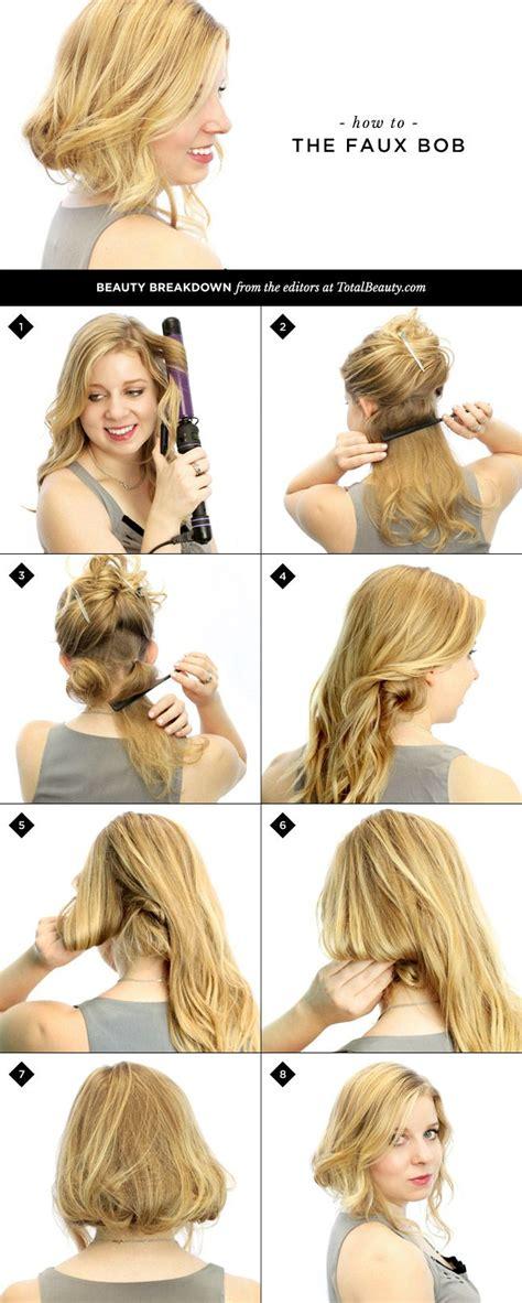 easy dance hair diy how to make long hair short faux bob hair tutorials