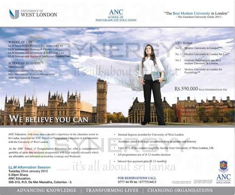 Anc Mba anc post graduate education llm and mba ma and m sc in