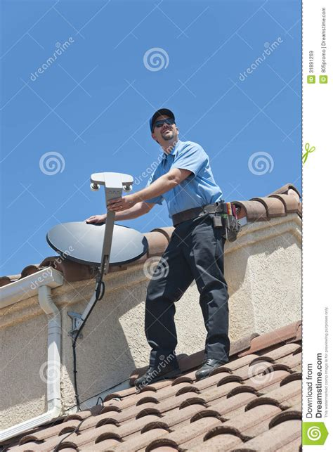 Dish Network Installer by Satellite Installer On Roof Stock Image Image 31891269