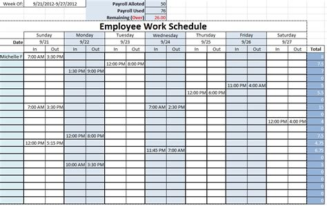 printable employee schedule template download work schedule templates free downloads download links