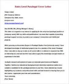 Cover Letter Paralegal by Sle Entry Level Cover Letter 8 Exles In Word Pdf