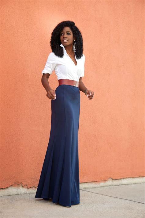 white button shirt high waist maxi skirt style