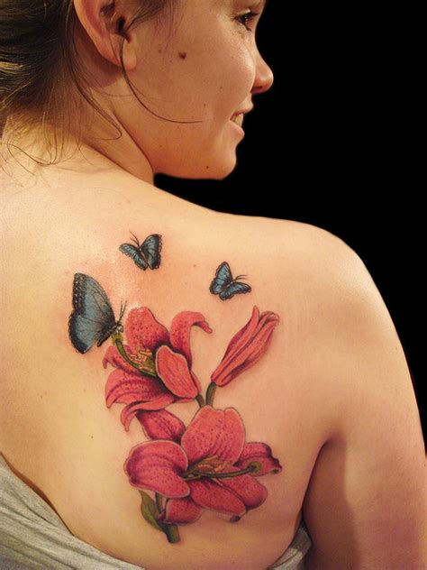 45 Back Shoulder Tattoos Stuff You Need To Know Sheplanet Butterfly Flower And Tattoos