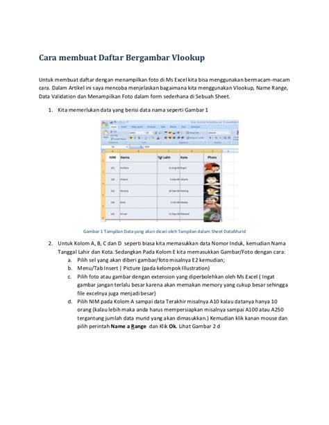 tutorial belajar microsoft xl cara membuat daftar bergambar vlookup