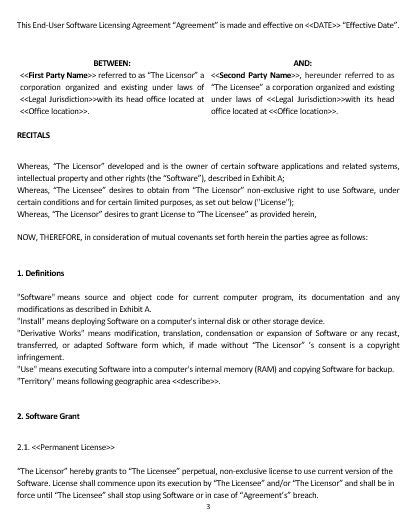 software end user license agreement template ne0194 end user software licensing agreement template