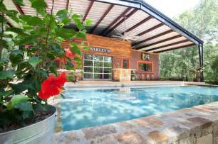 Canopy House House With Steel Canopy Rustic Pool Dallas By