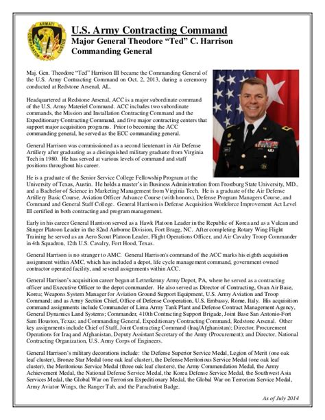 biography army format biography maj gen theodore ted harrison iii acc