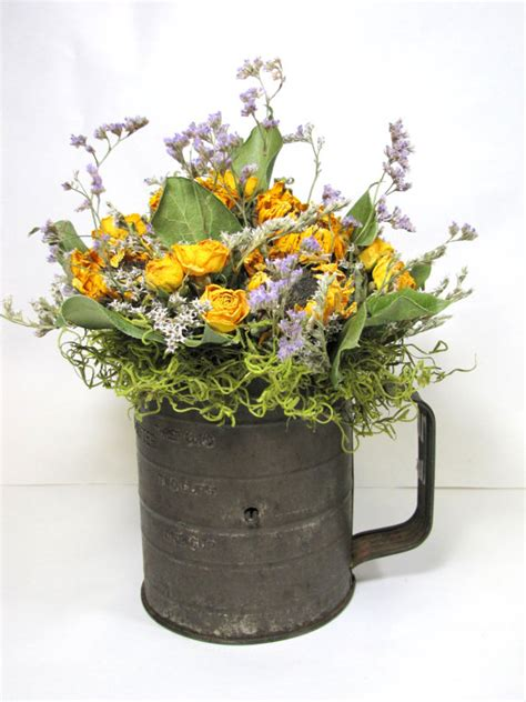 dry flowers decoration for home dried flower arrangement dried flowers vintage sifter