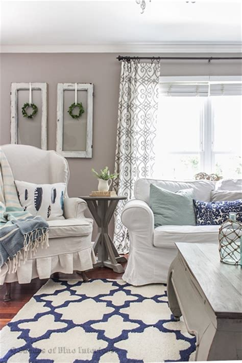 blue and white living room charming home tour shades of blue interiors town