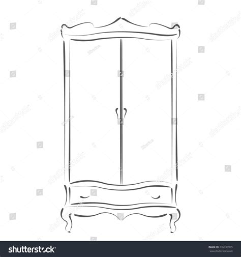 sketched vintage wardrobe isolated on white background
