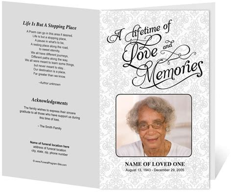memorial program templates beautiful funeral programs and order of service templates