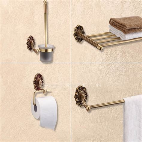 Antique Brass Bathroom Accessories 4 Carved Wall Mount Antique Brass Bathroom Accessory Sets