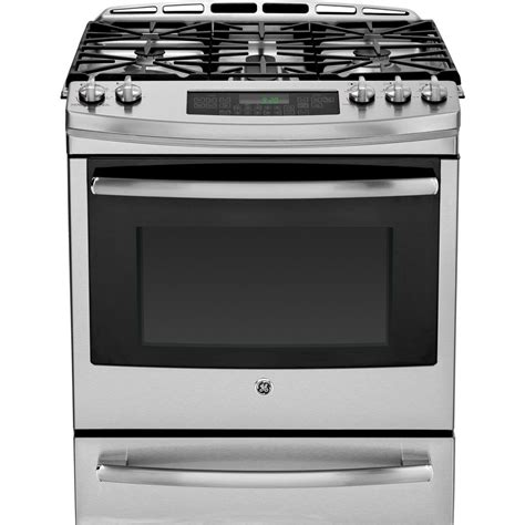 stainless steel range shop ge 5 burner 5 6 cu ft slide in convection gas range stainless steel common 30 in
