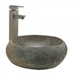 natural river stone vessel sink bathroom