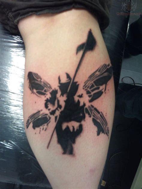 tattooed soldier black ink linkin park soldier back leg tattoos